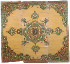 A QAJAR PAINTED WOODEN CEILING