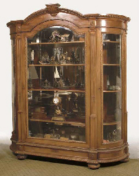 A DUTCH MAHOGANY DISPLAY CASE
