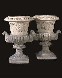 A PAIR OF SCOTTISH STONEWARE URNS
