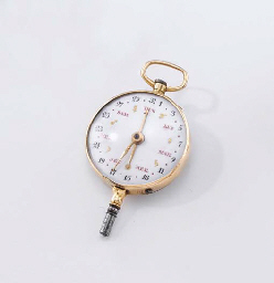 Anon An 18K pink gold astronomical dual dial key with calend...