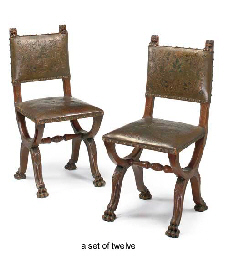 A SET OF TWELVE WALNUT AND POLYCHROME LEATHER UPHOLSTERED DI...