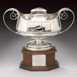 A SILVER AND ENAMEL ROSEBOWL, PRESENTED BY CUNARD TO LEONARD PESKETT, THE COMPANY'S CHIEF ARCHITECT, TO CELEBRATE THE LAUNCH OF R.M.S MAURETANIA, 1907