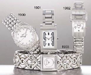 PIAGET A LADY'S 18K WHITE GOLD AND DIAMOND-SET RECTANGULAR W...