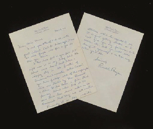 REAGAN, Ronald (1911-2004), President . Autograph letter signed (