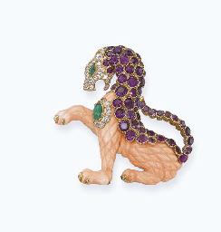 A PINK CORAL AND GEM-SET 'GRIFFIN' BROOCH, BY VAN CLEEF & AR...