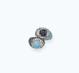 A SAPPHIRE AND TURQUOISE 'TOI ET MOI' RING, BY CARTIER