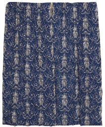A PAIR OF BLUE PRINTED COTTON CURTAINS, FRENCH LATE 19TH CEN...