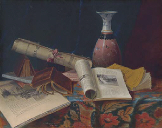 Still Life with Vase and Books