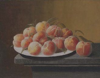 Peaches with Dew in a Bowl