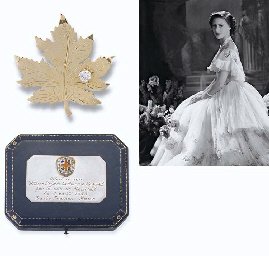 A DIAMOND-SET MAPLE LEAF BROOCH, BY BIRKS
