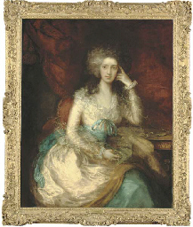 portrait of the hon. mrs watson (1767-1818), later lady sondes, three-quarter-length, seated in a pink dress with blue sash, a draped curtain beyond