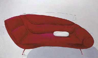 Bantal guling di atas sofa (Cu
