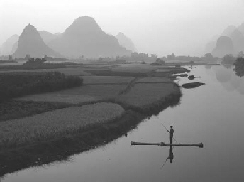 Bamboo raft on Yu Long river,
