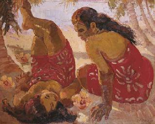 Two beauties on Tahitian beach