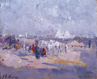 Bedouin encampment with a city
