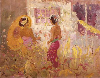 Two women in garden in front o