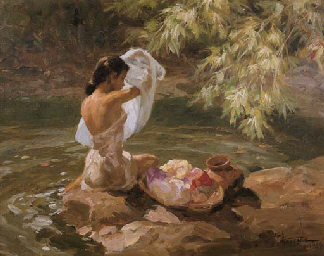 Bathing by the river