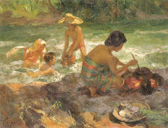 Bathing and cooking by the riv