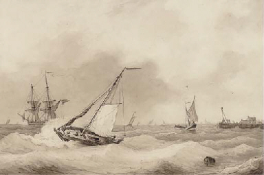 A Dutch barge and other shippi