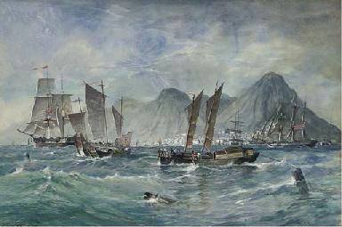 British naval frigates, sampan