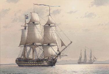 H.M.S. Conqueror cruising off