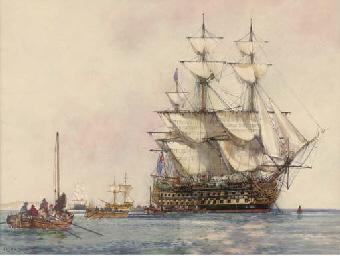 H.M.S. Caesar lying at anchor