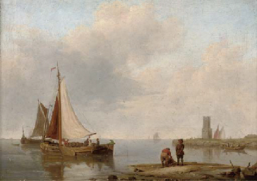 Barges in a calm off the Dutch