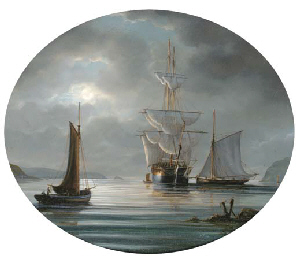 Frigates by moonlight in Plymo