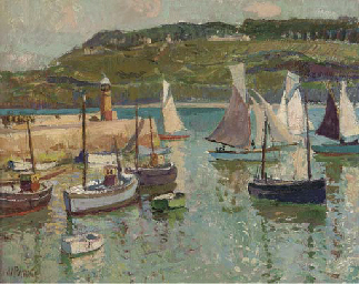 Sail boats and fishing trawler