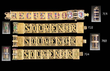 JEWELRY] An Antique Emerald, Diamond and Gold Souvenir Brac...