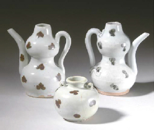 THREE CHINESE QINGBAI-GLAZED IRON-SPOTTED VESSELS