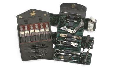 A French late 19th-Century pocket-sized medical set in fishs...