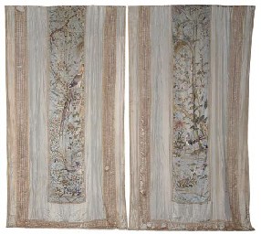 A PAIR OF CHINESE EXPORT CURTAINS