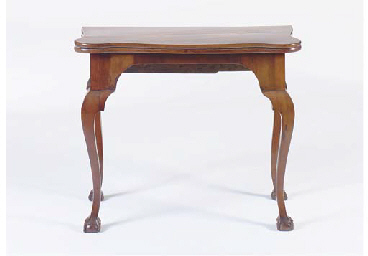A GEORGE III STYLE SERPENTINE TOP FOLD-OVER GAMES TABLE