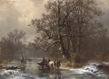 Loggers on a frozen waterway