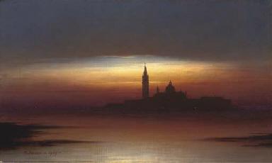 Venice from the lagoon, dusk