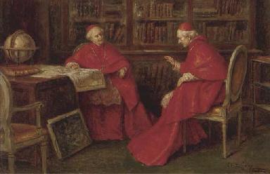 Cardinals studying a map