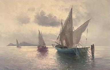 Fishing vessels off Capri at d