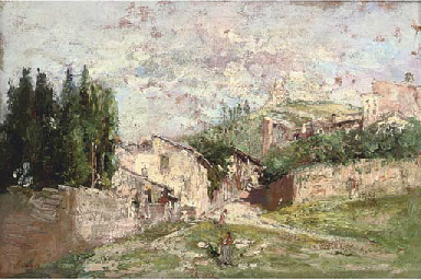 Figures before a Spanish villa