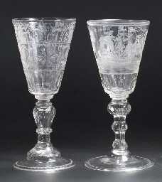 A Dutch-engraved faceted maritime goblet and a Bohemian engraved faceted goblet