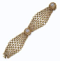 A RETRO DIAMOND AND GOLD BRACE