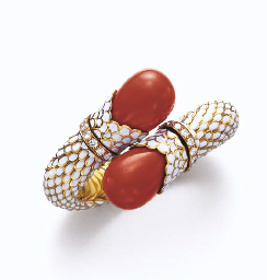 **A CORAL, ENAMEL AND DIAMOND
