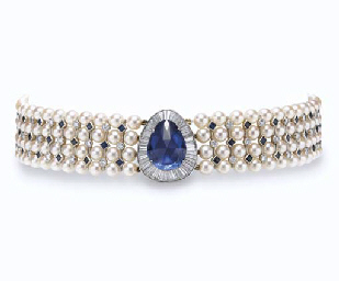A SAPPHIRE, CULTURED PEARL AND
