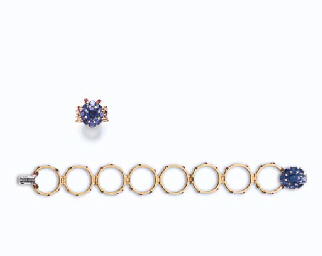 A SAPPHIRE, RUBY AND GOLD