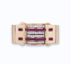 A RETRO RUBY AND DIAMOND BRACE
