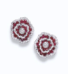 A PAIR OF RUBY AND DIAMOND