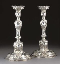 A PAIR OF GERMAN LATE 19TH CENTURY SILVER CANDLESTICKS (HOLL...
