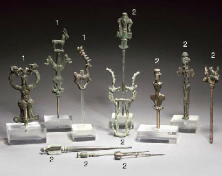 A LARGE GROUP OF LURISTAN BRONZE FINIALS AND PINS