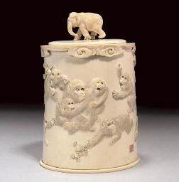 A Japanese ivory tusk box and