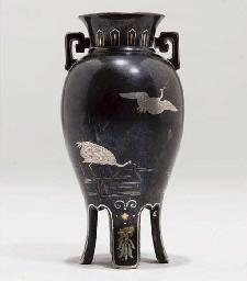 A Japanese miniature bronze va